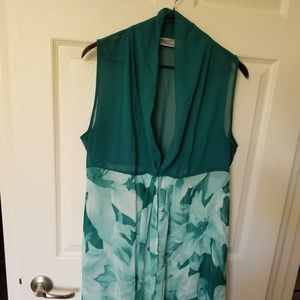 Green floral sheer vest or coverup! cute!